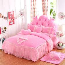 princess bed set purple pink red lace cover thick fleece winter wedding bedding full queen size