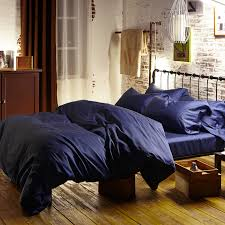 100 egyptian cotton 60s satin bed linens royal dark blue duvet covers king size bedding set solid color ed sheet queen bed in bedding sets from home