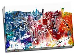 amazon colorful downtown chicago urban painting canvas wall art stretched onto 24x36 frame posters prints on colorful wall art canvas with amazon colorful downtown chicago urban painting canvas wall art