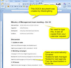 Meeting Minutes In Ms Word Docx Created By Meetingking