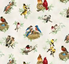 elizabeth s studio beautiful birds 4310 cream bird nest toss 9 95 yd