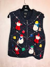 Designers Studio Originals Vintage Sweater Designers Studio Originals Wizard Santa And Snowmen Wintry Theme Womens Large