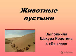 Презентация на тему Животные пустыни Выполнила Шахура Кристина  1 Животные пустыни Выполнила Шахура Кристина 4 Б класс