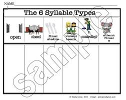 6 Syllable Types Chart 6 Syllable Types Worksheets Teaching Resources Tpt