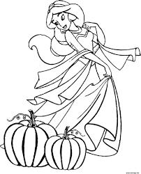 Coloriage Jasmine Princesse Halloween Dessin
