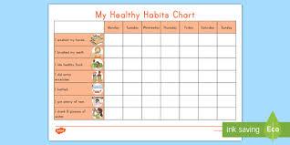 Chart On Healthy Habits My Healthy Habits Chart Worksheet Worksheet Healthy