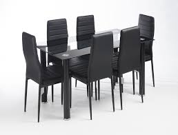 modern glass designed black stripe contemporary dining table set with 6 black faux leather chairs