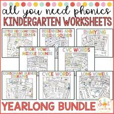 So far you can see we have a variety of sets of worksheets that deal with beginning sounds and rhyming and we are working on more. Phonics Worksheets Kindergarten Teachers Pay Teachers