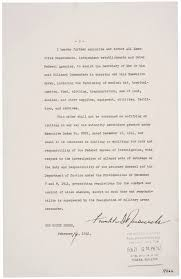 fdr s executive order authorizing ese american incarceration page three of executive order 9066 which includes president franklin d roosevelt s signature courtesy national archives washington