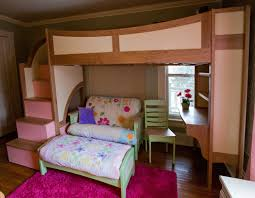 charming bunk beds with stairs in brown and pink theme with lovely sofa set and desk bed desk set