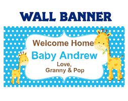 Welcome Home Baby Boy Banner Baby Shower Its A Boy Baby Giraffe Welcome Home Baby