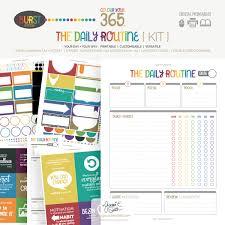 Daily Routine Printable Colour Your 365 Burst Edition The Daily Routine Printable Planner Kit