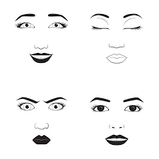 女の子の感情面漫画ベクトル イラスト女性絵文字顔アイコンと女性