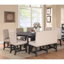 modus yosemite 8 piece oval dining table set with upholstered chairs and settee walmart