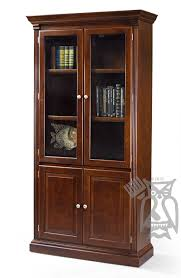 custom built traditional cherry wood bookcase with glass wood doors in timber glazed finish