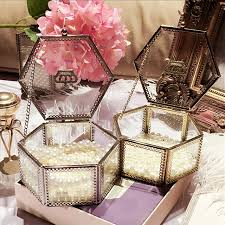 Decorative Display Boxes Golden Crown Glass Storage Box Organizer Makeup Cosmetic Small 42