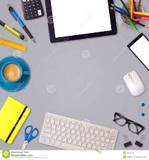 template office office desk mock up template background with tablet smartphone and