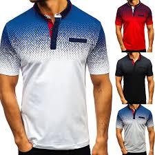 <b>Men</b> Color Block Dots Print Short Sleeve <b>Turn Down Collar</b> T-Shirt ...