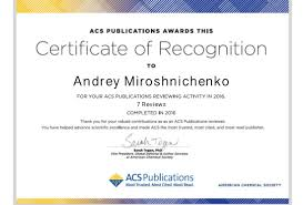 Andreysquare Certificate Of Recognition From Acs Publications