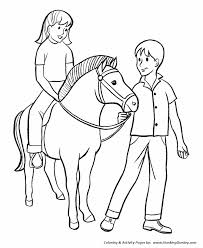 Small Picture Horse Coloring Pages Boy and Girl with Pony Coloring Page