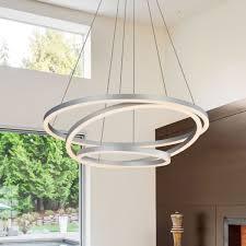 tania trio vmc32500al 32 led chandelier adjule hanging light modern circular chandelier light in silver