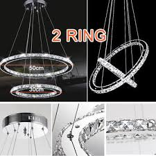 modern led crystal chandelier pendant lamp ceiling lighting 2 ring
