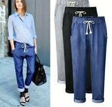 Ebay Asian Size Chart Details About Women Plus Size High Waist Jeans Trouser Loose Denim Harem Pant