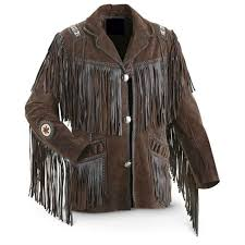 men s traditional western cowboy leather jacket coat with fringe bones and beads