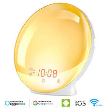 Smart Wake up Light Sleep Aid <b>Digital</b> Alarm Clock <b>Wifi</b> Voice APP ...