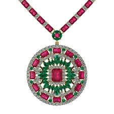 ruby emerald diamond tennis necklace medallion by juliette wooten yellow gold for