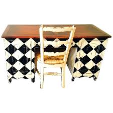 colorful end tables platypus desk and end table set with checkerboard design in black and white
