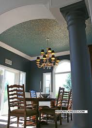 (q ) Formal Dining Room Interior Design with Wallpaper Ceiling.