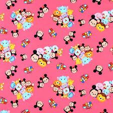 Tsum Tsum Color Chart Springs Creative Disney Tsum Tsum Group Toss With Logo Pink Fabric