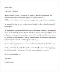 Volunteer Cover Letter Samples 9 Job Application Letter For Volunteer Free Sample Example