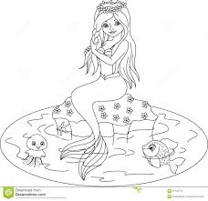 Small Picture Mermaid Coloring Page Stock Vector Image 61735713