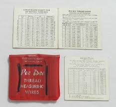 Pee Dee Thread Measuring Wires Set Conversion Charts