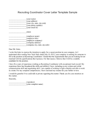 Recruiter Cover Letter Project Scope Template Sample Recruiting
