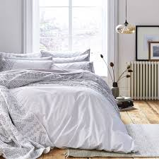 bianca cotton soft aztec 100 cotton 200 thread count embroidered duvet cover set white super king linens limited