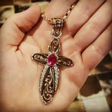 arched crystal ruby red cross pendant now available at throughout hyosilver com