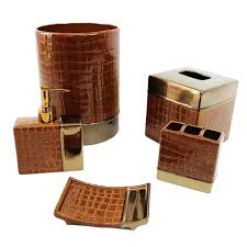 brown bathroom accessories. Amazing Brown Bathroom Accessories Or Elegant Ceramic Leather Like Box Form Bath Sets 41 Cracked
