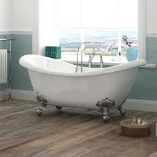 1760 x 740 luxury double ended slipper freestanding bath with chrome leg set at victorian plumbing uk