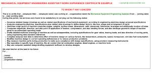 Example Certificate Experience Certificate Sample For Mechanical
