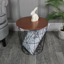 wood copper table wire basket side occasional table storage solution furniture