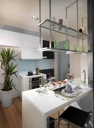 Modern Contemporary Kitchen With White Cabinets And Stand Alone Breakfast  Bar