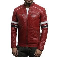 men s casual red leather biker racing jacket lamb nappa leather er jacket