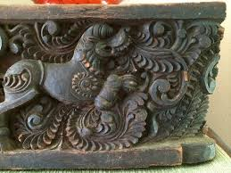 antique asian hand carved wood foo dog panel antique chinoiserie architectural salvage wood wall decor india rare