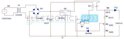 simple car battery charger and indicator circuit diagram circuit 12 volt battery charger circuit diagram pdf at Battery Charger Block Diagram