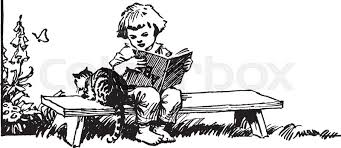 sitting on bench reading book with cat child female garden kid kitten kitty read upside down vine line drawing or engraving ilration