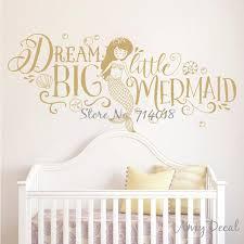 dream big little mermaid wall sticker girls nursery decor cute mermaid e wall stickers kids room x great mermaid wall decals