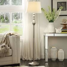 Formal living rooms  INSPIRE Q Sedgwick 3-way Satin Nickel Contoured Base  1-light Accent Floor Lamp